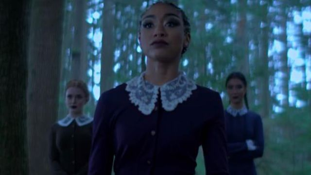 White-collar lace, Prudence (Ts Gabrielle) seen in The New Adventures of Sabrina Season 1 Episode 1 - TV Show Outfits and Products