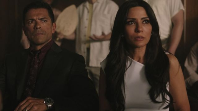 White dress Helmut Lang Hermione Lodge (Marisol Nichols) seen in Riverdale (Season 3 Episode 1) - TV Show Outfits and Products