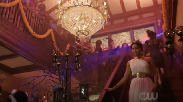 White dress ancient created by Mandi Line carried by Macy Vaughn (Madeleine Mantock) seen in Charmed Season 1 Episode 3 - TV Show Outfits and Products