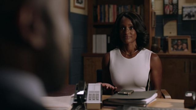 White dress and bordeaux, Calvin Klein, outfit worn by Kara Fowdy (Skye P. Marshall) seen in Black Lightning Season 1 Episode 4 - TV Show Outfits and Products