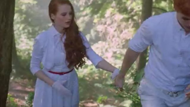 Fashion Trends 2021: White dress immaculate of Cheryl Blossom (Madelaine Petsch) seen in Riverdale Season 1 Episode 5