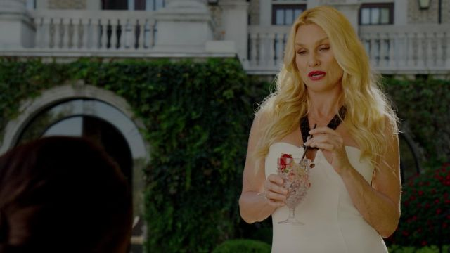 White dress in strapless black Proenza Schouler as outfit worn by Alexis Carrington (Nicollette Sheridan) seen in Dynasty Season 2 Episode 5 - TV Show Outfits and Products