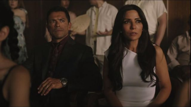 White dress outfit worn by Hermione Lodge (Marisol Nichols) seen in Riverdale Season 3 Episode 1 - TV Show Outfits and Products