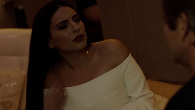 Fashion Trends 2021: White dress with flounced crepe Ellery outfit worn by Crystal Jennings (Ana Brenda Contreras) seen in Dynasty Season 2 Episode 3