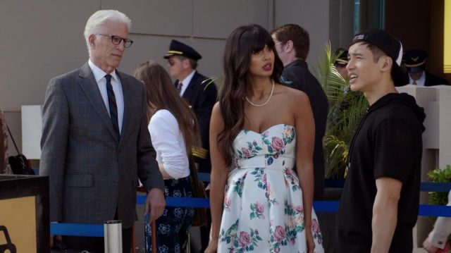 White dress with flowers Chi Chi London scope by Ms. Al-Jamil (Jameela Jamil) seen in The Good Place Season 3 Episode 5 - TV Show Outfits and Products