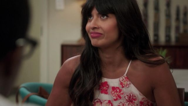White dress with flowers-Ms. Al-Jamil (Jameela Jamil) seen in The Good Place (Season 3 Episode 1) - TV Show Outfits and Products