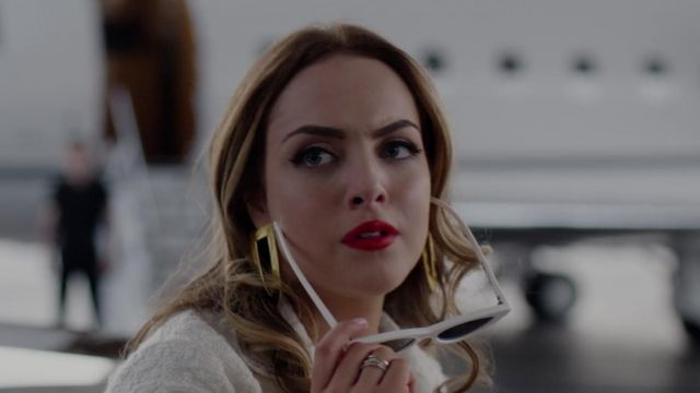 White sunglasses of Fallon Carrington (Elizabeth Gillies) seen in Dynasty (Season 2 Episode 1) - TV Show Outfits and Products