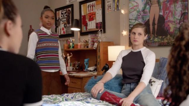 Fashion Trends 2021: White t-shirt, and black American Apparel Nomi Segal (Emily Arlook) seen in Grown-ish Season 1 Episode 4