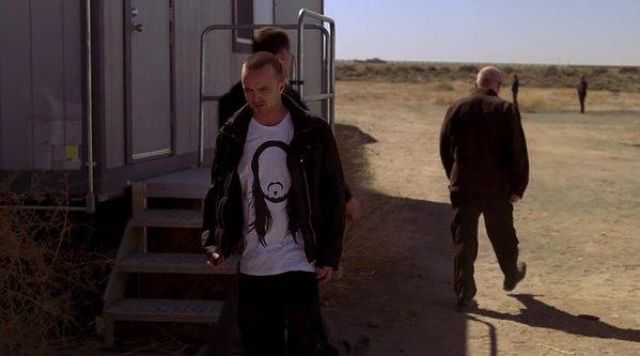 Fashion Trends 2021: White t-shirt with 'man without a face' of Jesse Pinkman (Aaron Paul) seen in Breaking Bad Season 4 Episode 7