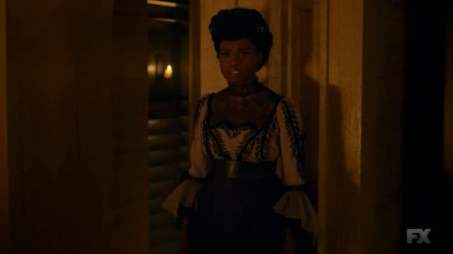 White top of Dinah Stevens (Adina Porter) seen in American Horror Story Revelation (Season 8 Episode 4) - TV Show Outfits and Products