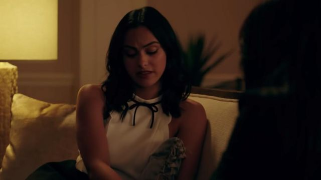 White top scalloped choker with black ribbon outfit worn by Veronica Lodge (Camila Mendes) in Riverdale Season 4 - TV Show Outfits and Products