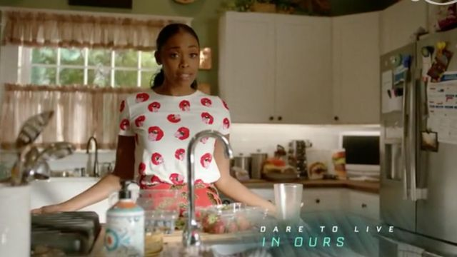 White top with a printed Alice + Olivia x Donald Robertson outfit worn by Anissa Pierce (Nafessa Williams) seen in Black Lightning Season 2 Episode 3 - TV Show Outfits and Products