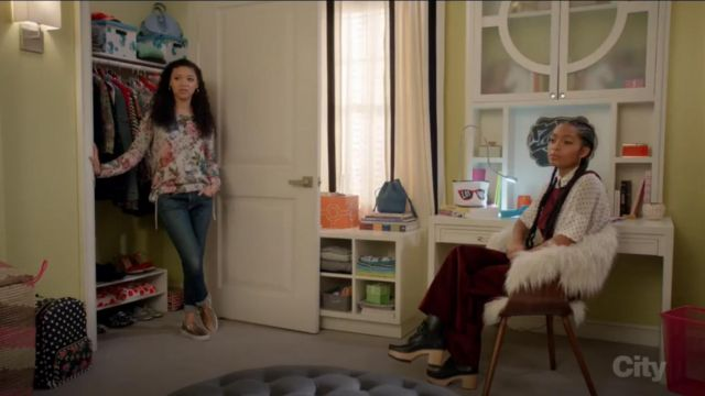 Xhilaration Wide Legs Corduroy Overalls Rich Wine outfit worn by Zoey Johnson (Yara Shahidi) in black-ish (Season 03 Episode 14) - TV Show Outfits and Products