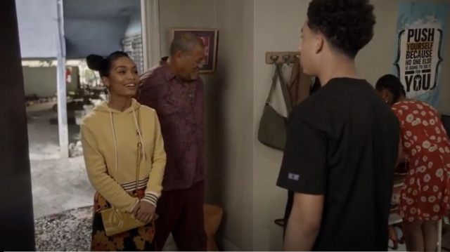 Yellow Fila Bailey Hoodie outfit worn by Zoey Johnson (Yara Shahidi) in black-ish (S05E23) - TV Show Outfits and Products