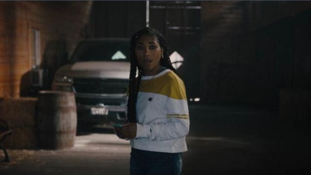 Yellow Striped Sleeve Baseball Tee outfit worn by Peri Boudreaux (Adriyan Rae) in Light as a Feather Season 2 Episode 16 - TV Show Outfits and Products
