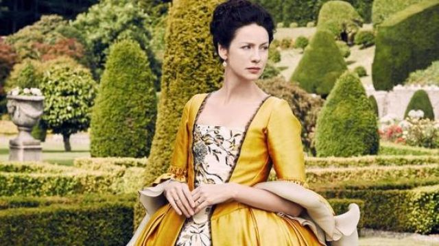 Yellow dress of Claire Fraser (Caitriona Balfe) seen in Outlander Season 2 Episode 3 - TV Show Outfits and Products