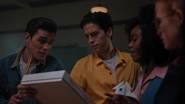 Yellow shirt with short sleeves outfit worn by Jughead Jones (Cole Sprouse) seen in Riverdale Season 3 Episode 4 - TV Show Outfits and Products