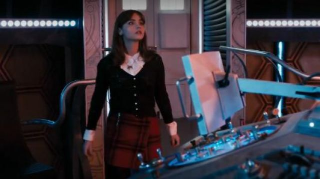 Yumi Pointelle Bow Cardigan outfit seen on Clara (Jenna Coleman) in Doctor Who (S08E01) - TV Show Outfits and Products