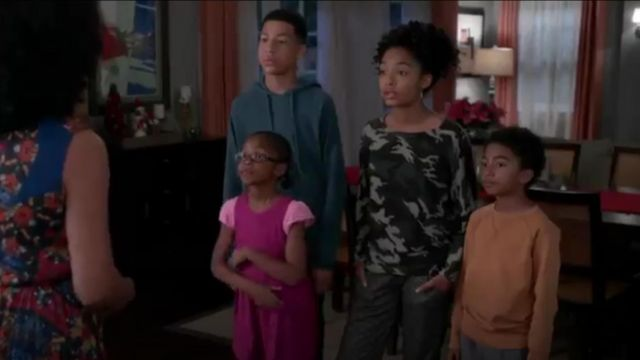 Zadig & Voltaire Cashmere Camo Print Raglan Sweater outfit worn by Zoey Johnson (Yara Shahidi) in black-ish (Season 01 Episode 10) - TV Show Outfits and Products