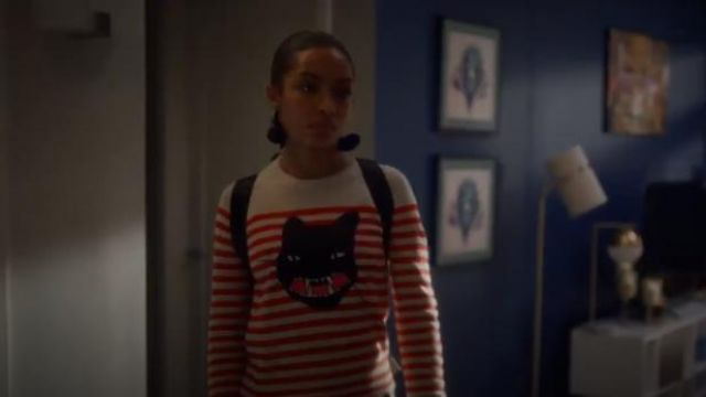 Zadig & Voltaire Lilo Striped Cat Jumper outfit worn by Zoey Johnson (Yara Shahidi) in grown-ish (Season 02 Episode 13) - TV Show Outfits and Products
