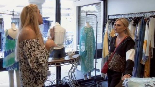 Zara Animal print half zip sweatshirt outfit worn by Tamra Judge in The Real Housewives of Orange County Season 14 Episode 10 - TV Show Outfits and Products