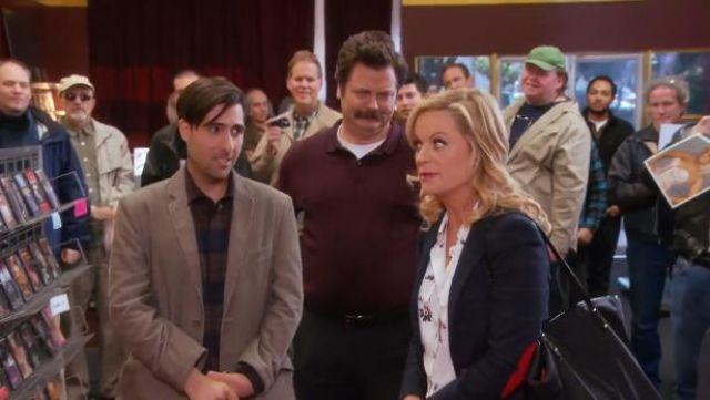 Zara Checked wool blazer with elbow patches outfit worn by Leslie Knope (Amy Poehler) in Parks and Recreation (S05E16) - TV Show Outfits and Products