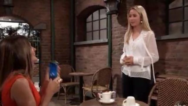 Zara Embroidered Plumetis Blouse outfit worn by Eden McCoy as seen in General Hospital June 14,2019 - TV Show Outfits and Products