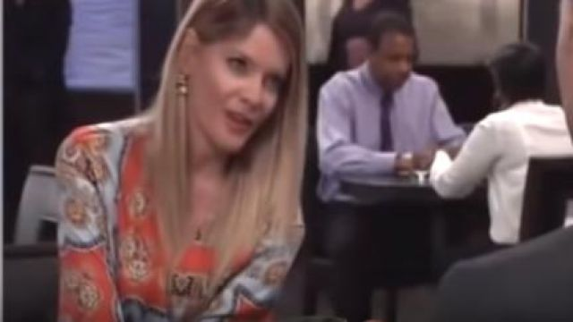 Zara Printed Pleated Dress outfit worn by Nina Reeves (Michelle Stafford) as seen in General Hospital April 19, 2019 - TV Show Outfits and Products