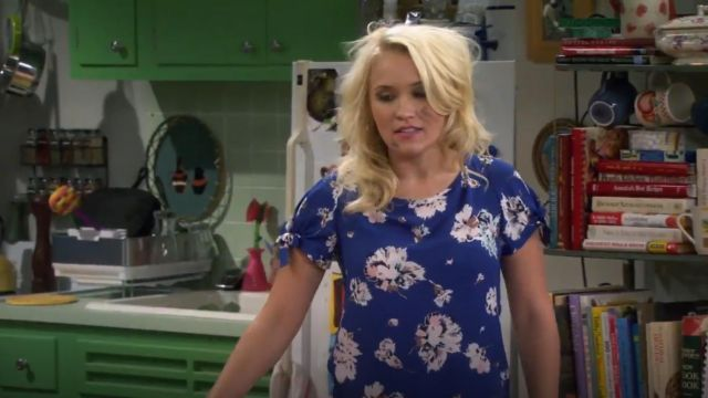 Zara Printed top outfit worn by Gabi Diamond (Emily Osment) in Young & Hungry (S01E08) - TV Show Outfits and Products