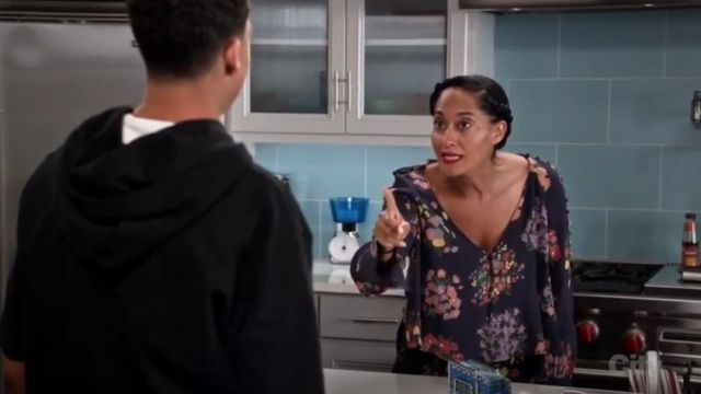 Zara Trafaluc Collection Flowing Printed Top outfit worn by Rainbow Johnson (Tracee Ellis Ross) in black-ish (S03E02) - TV Show Outfits and Products