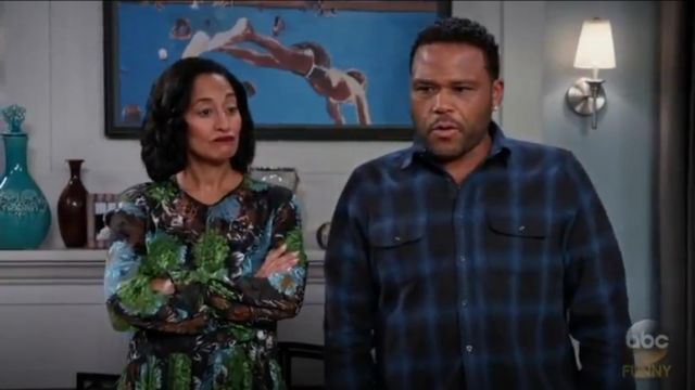 Zara Woman Floral Devoré Dress outfit worn by Rainbow Johnson (Tracee Ellis Ross) in black-ish (Season 03 Episode 11) - TV Show Outfits and Products