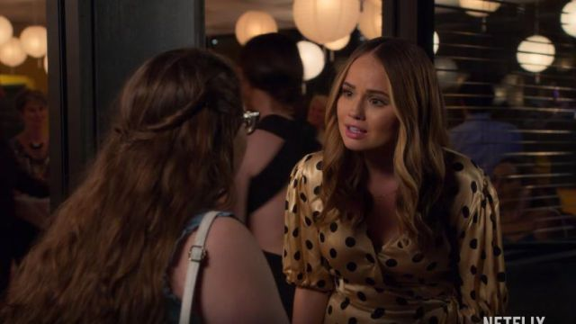 Zara gold polka dot wrap dress outfit worn by Patty Bladell (Debby Ryan) in Insatiable Season 2 Trailer - TV Show Outfits and Products
