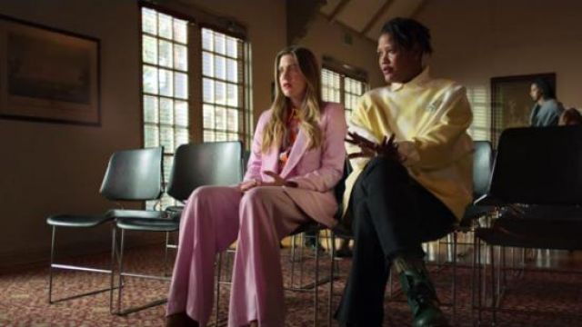 Zara pink double breasted blazer outfit worn by McAfee (Laura Dreyfuss) in The Politician Season 1 Episode 6 - TV Show Outfits and Products