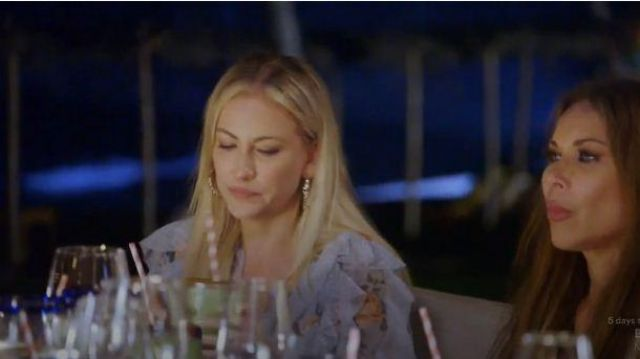 Zimmermann blue ruffle floral print dress/romper outfit worn by Stephanie Hollman in The Real Housewives of Dallas Season 04 Episode 05 - TV Show Outfits and Products