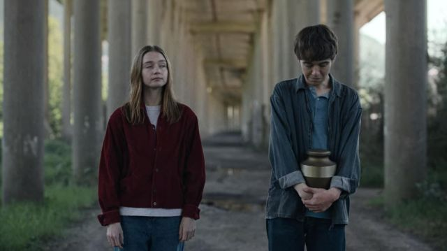 Zip Up Blue Shirt Jacket outfit worn by James (Alex Lawther) in The End of the F***ing World (S02E08) - TV Show Outfits and Products