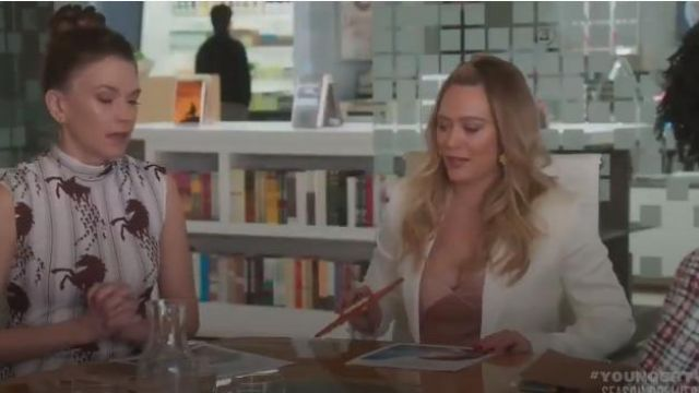 old pink V-Neck Bias Cami outfit worn by Kelsey Peters (Hilary Duff) in Younger (Season06 Episode01) - TV Show Outfits and Products