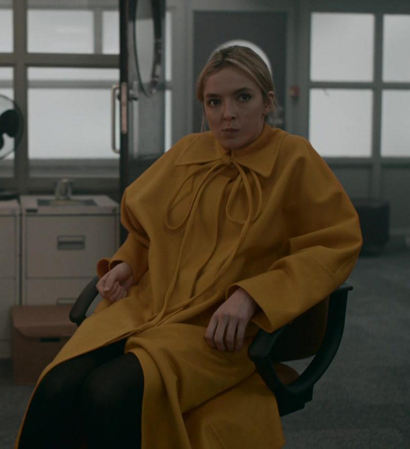 Loewe Yellow Oversized Coat Worn by Jodie Comer as Villanelle in Killing Eve - TV Show Outfits and Products