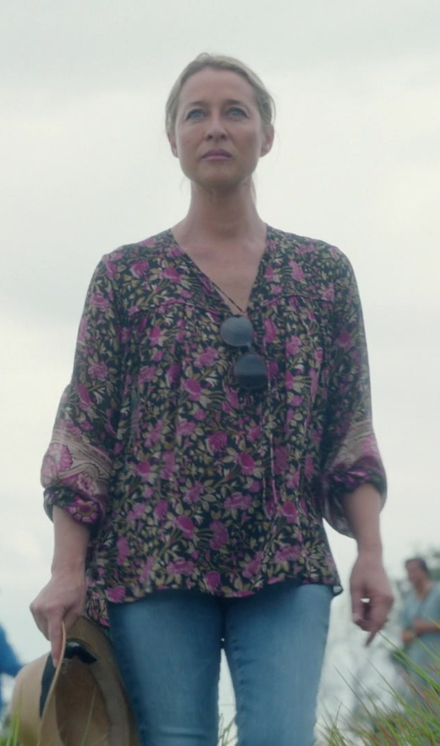 Fashion Trends 2021: Floral Long Sleeved Blouse Worn by Asher Keddie as Heather Marconi in Nine Perfect Strangers