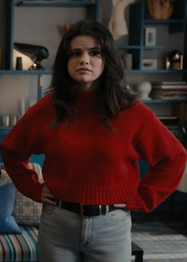 Fashion Trends 2021: Red Cropped Sweater of Selena Gomez as Mabel in Only Murders in the Building