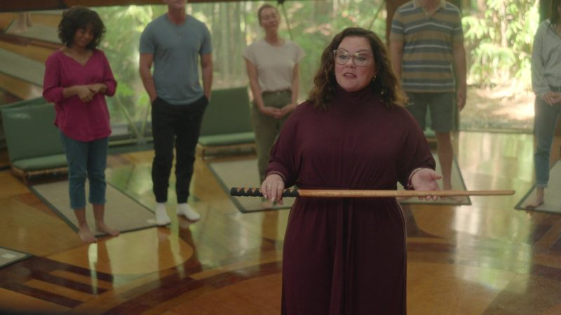 Fashion Trends 2021: Plus Size Turtleneck Dress of Melissa McCarthy as Frances Welty in Nine Perfect Strangers