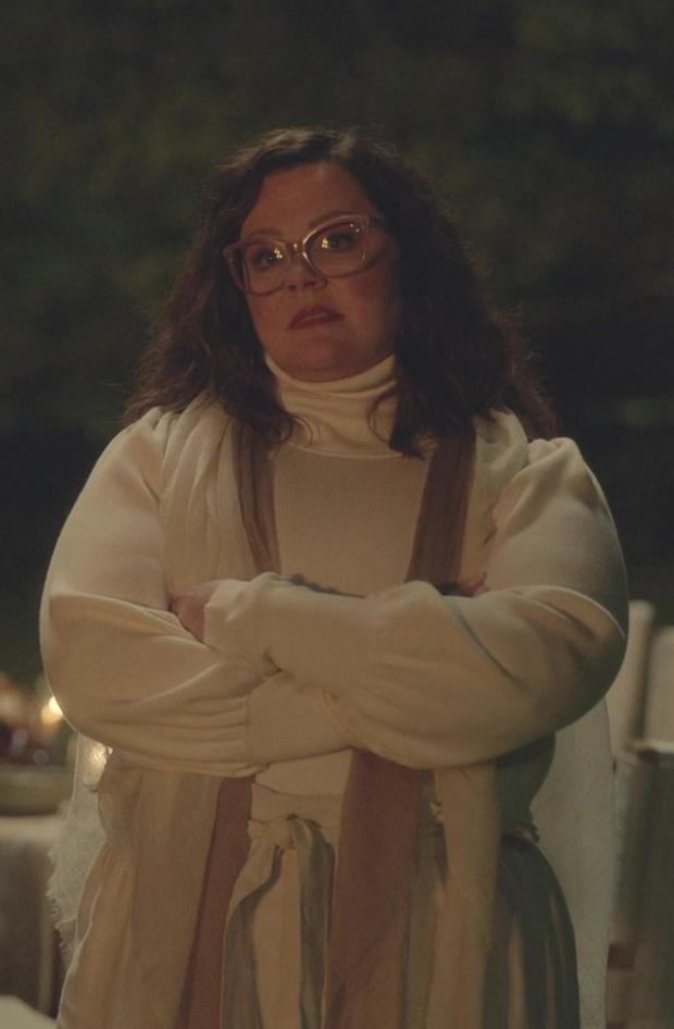 Fashion Trends 2021: White Turtleneck Sweater Worn by Melissa McCarthy as Frances Welty in Nine Perfect Strangers